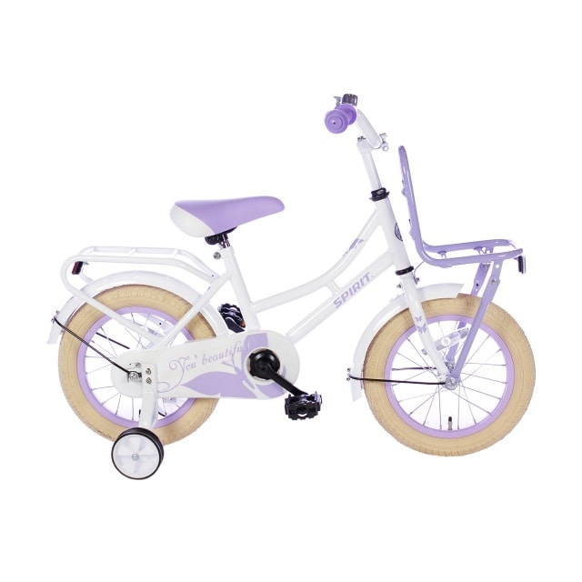 Spirit Omafiets 14 inch Wit Paars