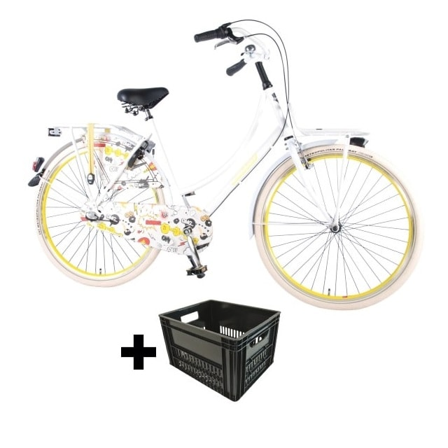 Salutoni Urban Transportfiets Cartoon 28 inch 3 Versnellingen