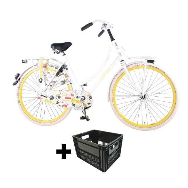 Salutoni Urban Transportfiets Cartoon 28 inch Met Krat